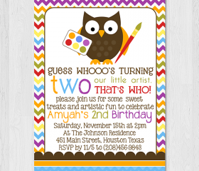 Printable 5x7 Owl Little Artist Birthday Invitation